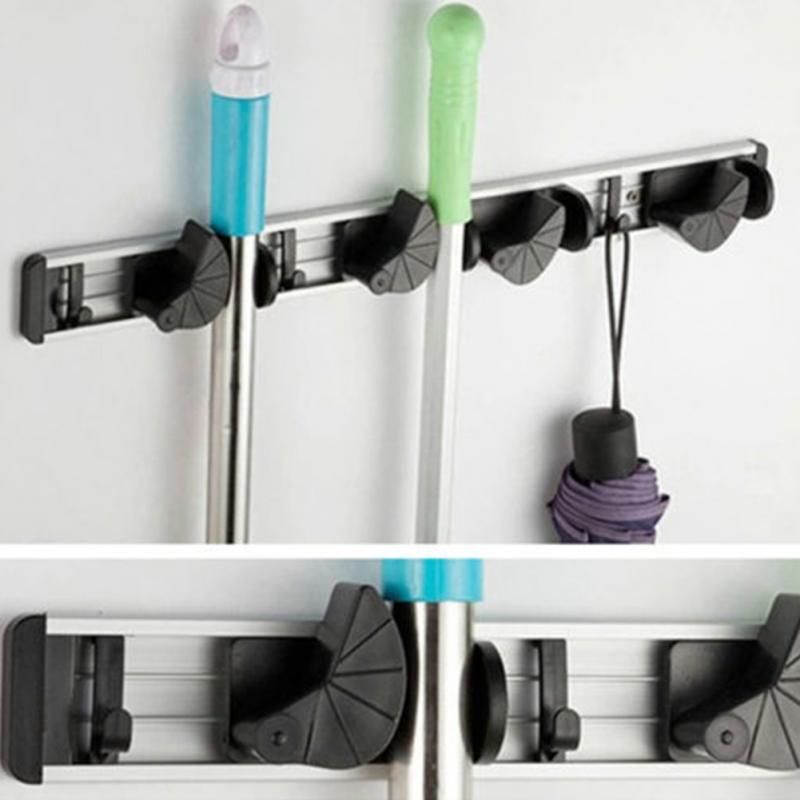 Multifunktionale Küche Wand Montiert Mopp Halter Aufhänger Hause Küche Garage Lagerung Besen Organizer