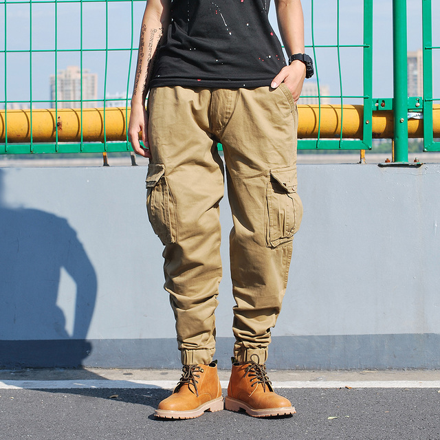 Pants Army Green Men Streetwear Track Pant Military Pencil Pant Zipper Fly Black Leisure Youth Joggers