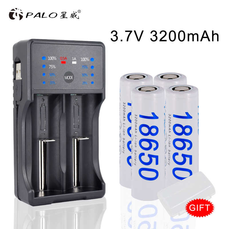 2019 Новая батарея 18650 3,7 V 4 шт перезаряжаемая 18650 литий-ионная батарея 3200 mAh + 18650 зарядное устройство для батареи фонарика