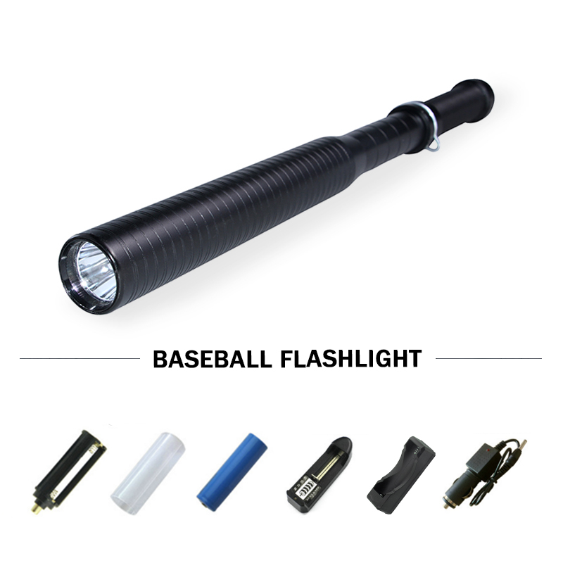 led cree xml q5 flashlight self defense Lanterna powerful telescoping tactical torch bat ...
