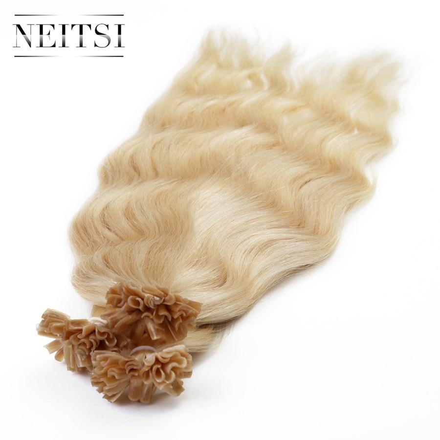 Neitsi Wellenförmige Indische Menschliche Fusion Haar U Nagelspitze - Menschenhaar (für Weiß) - Foto 2