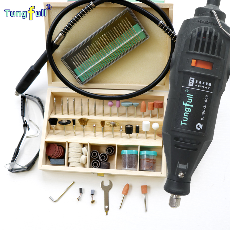 Quality Assurance Tungfull Hardware Variable Speed Rotary Tool,Mini Drill 139pcs Accessories Flexible shaft & practical gift kit
