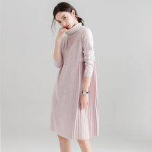Daatthird High Quality Womens Turtleneck  Cashmere Wool Sweater Dress Long Sleeve Winter Pullover Loose Sweaters Jumper