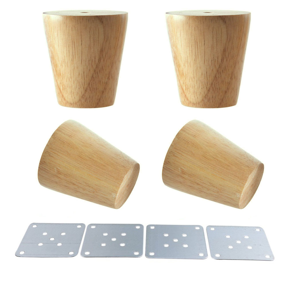 Natural Wood Reliable 60x58x38mm Wood Furniture Leg Cone Shaped Wooden Feet for Cabinets ...