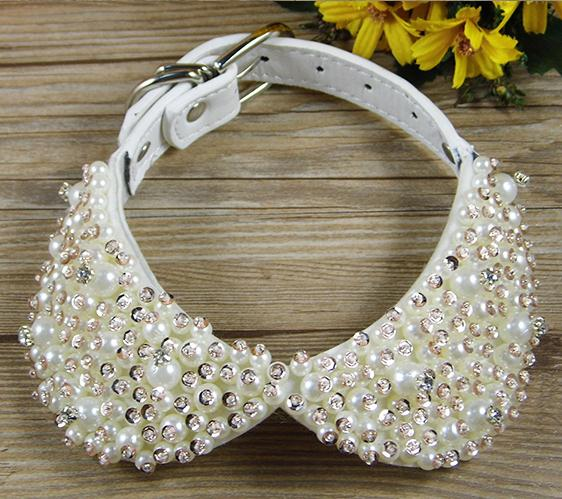 fashion bling rhinestones pearl small dog pet collars leather collars necklace for puppy. Black Bedroom Furniture Sets. Home Design Ideas