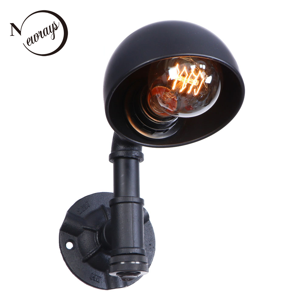 Vintage industrial iron painted wall lamp E27 LED 220V water pipe with button switch wall lights for bedroom parlor study hotel