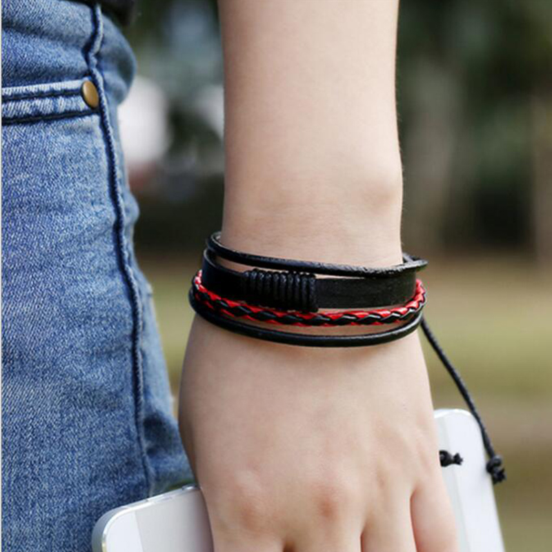 1pc New Men Adjustable Four Layers Weave Multilayer Surfing Wristbands Wristband Leather Bracelet Fashion Jewelry