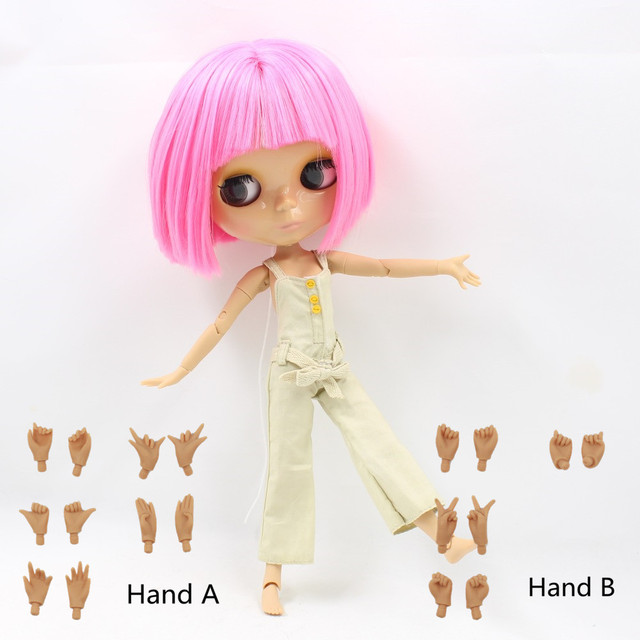Factory Neo Blythe Doll Short Pink Hair Tanned Skin Jointed Body