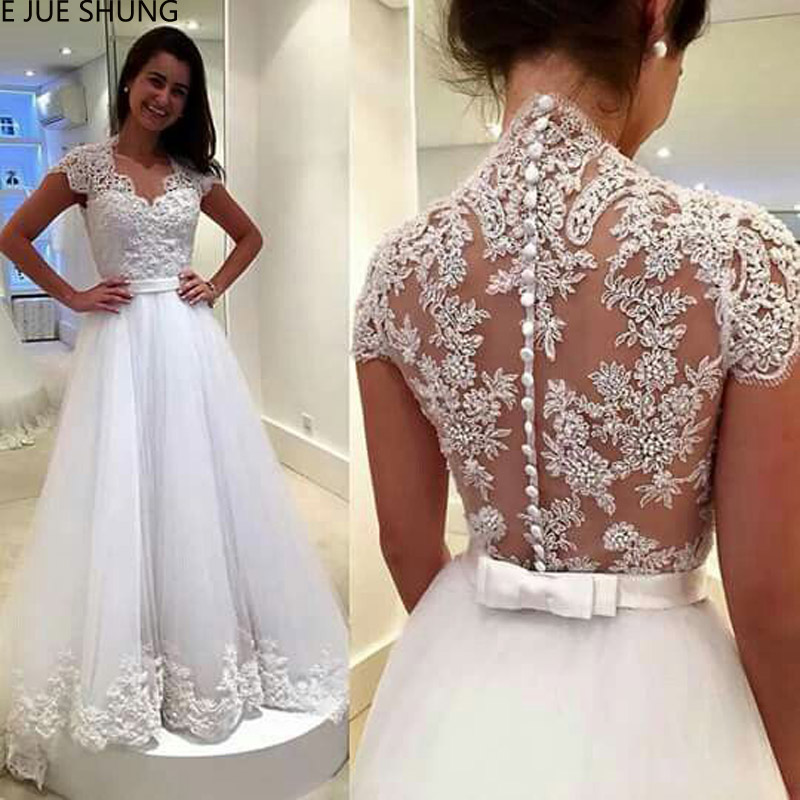 E JUE SHUNG White Lace Appliques Wedding Dresses 2019 Sheer Back Buttons Short Sleeves Cheap Bridal