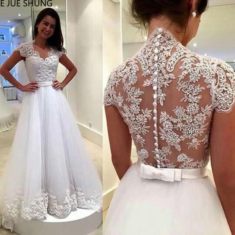 E JUE SHUNG White Lace Appliques Wedding Dresses 2020 Sheer Back Buttons Short Sleeves Cheap Bridal Dresses Vestidos De Novia