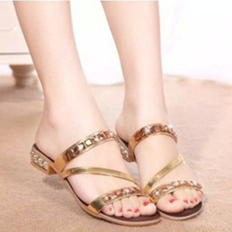 Womens dazzling rhinestone decorative square heel (4 to 9)comfortable Western style slippers for ladies and girls in gold/silver