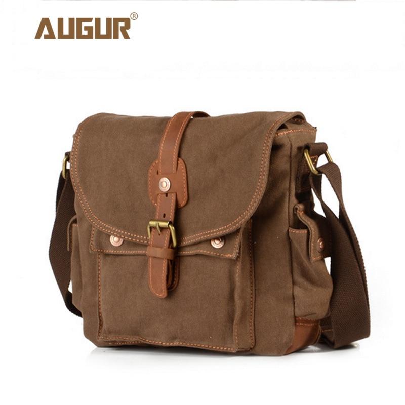 a43181c1ff19 2017 холщовая кожаная сумка через плечо мужская Военная армейская винтажная  сумка-мессенджер большая сумка на