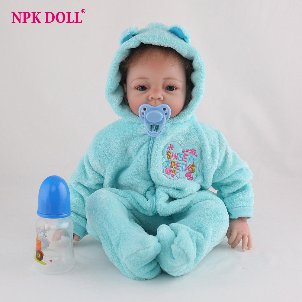 NPKDOLL 22inches reborn doll boy Hair Rooted Realistic Reborn Baby Dolls Soft body 55cm Lifelike Newborn Doll Girl XMAS Gift realistic about 18 handmade lifelike awake newborn baby doll reborn soft full silicone vinyl wavy hair rooted gift for boy