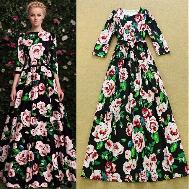 b65900d39260 HIGH QUALITY 2016 Autumn Designer New Fashion Runway Maxi Dress Women's 3/4  Sleeve Rose Floral Print Celebrity Cotton Long Dress