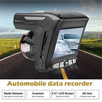 carelong 2 In 1 HD 1080P Car Driving Recorder Car DVR LCD Radar Speedometer Universal Traffic Warning Driving Recorder 2.4 Inch