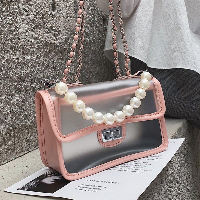 Sweet Girl Transparent Jelly bag 2019 Fashion New Quality PU Leather Women's Designer Handbag Lock Chain Shoulder Messenger bags 1
