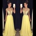 Sexy Amarillo Largo Sparkly Vestidos de Fiesta de Noche de Gasa Una Línea de Mujeres Hermosas Prom Formal Vestidos de Noche Vestidos de Desgaste