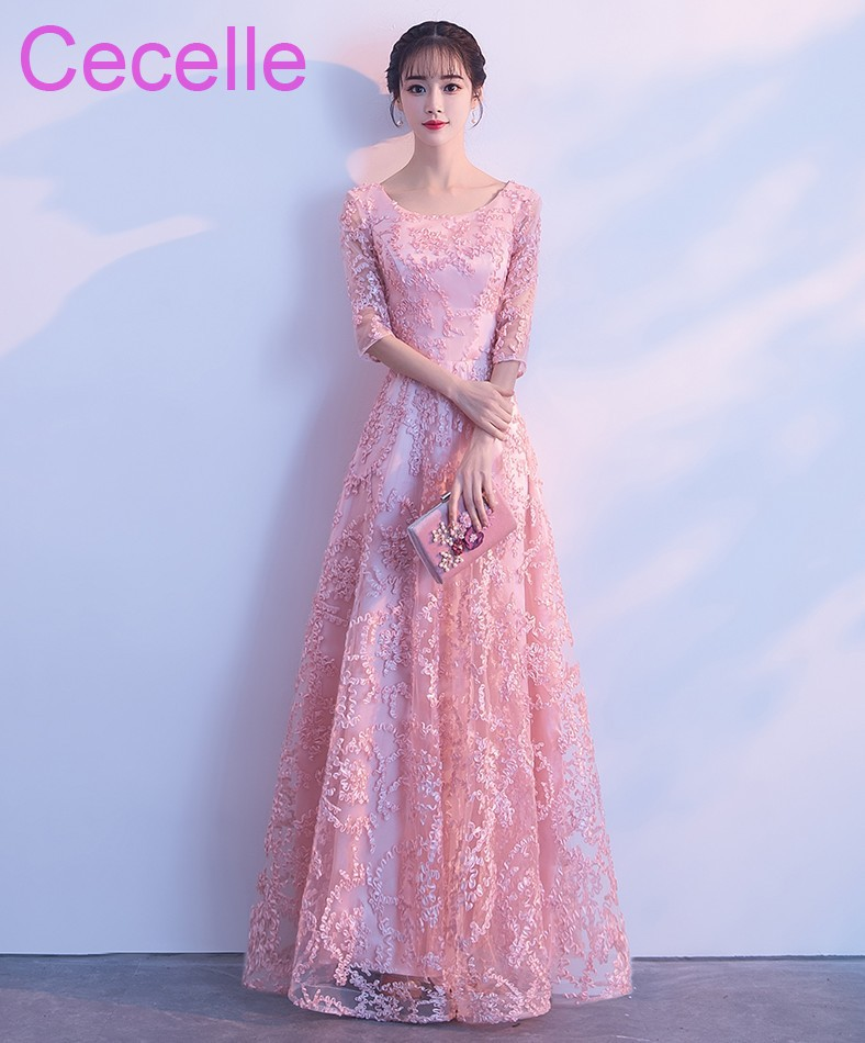 Vintage Pink Lace Long Modest   Bridesmaid     Dresses   With Half Sleeves A-line Floor Length Country Western Maids of Honor   Dress