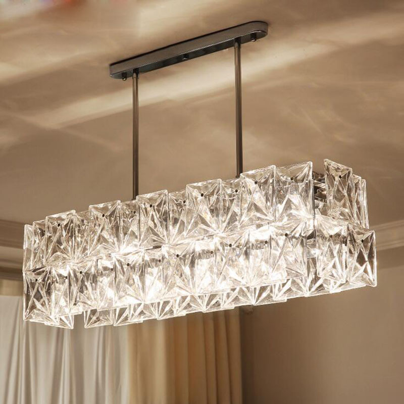 Long restaurant chandeliers creative wrought iron crystal bar lighting modern minimalist living room dining table lamps LED lamp erisson a 712