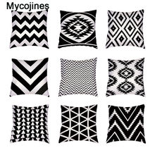 Black And White Geometric Decor Pillow Case For Bed Grid Curve Trilateral Car Seat Case Polyester Peach Skin White Cushion Cover