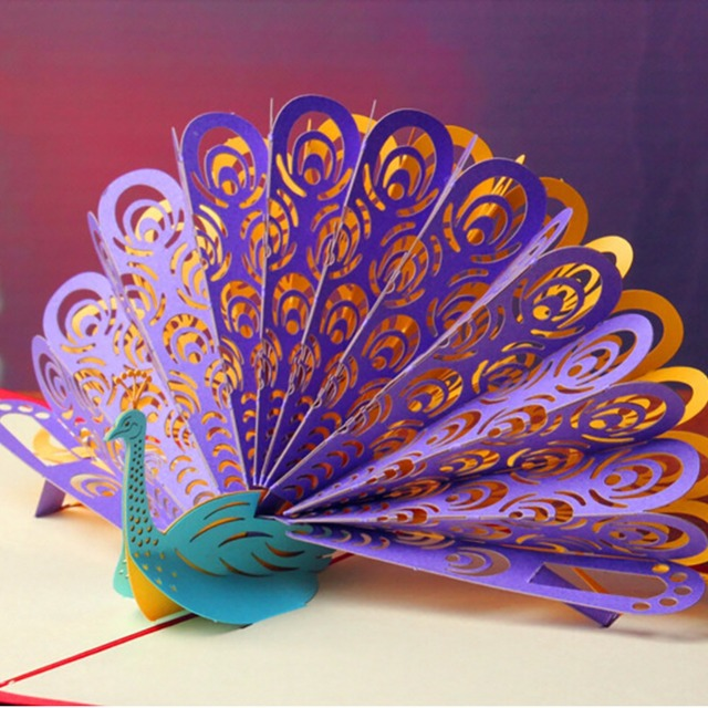 4 Style 3d Beautiful Peacock Greeting Cards Handmade Paper