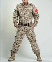 Men's Army Military Camouflage Desert Digital Camo Combat Uniform Shirt Top Jacket Blouse with Pants Outdoor CS Wargame Clothes