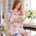 Chegada nova Mulheres de Pijama Longo-Luva 100% Algodão Tecido Elegante Doce Sleepwear Linda Camisola Floral Set Lounge 1796
