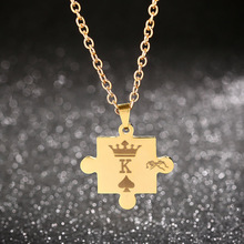 Letters K & Q Couple Necklaces with Crown Stainless Steel Tag Pendant Necklace King & Queen