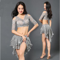2017 Rushed Sale Bellydance Costume Woman Square Latin Belly Dance Suits Top&skirt With Safety Pants Performance Wear Zm048