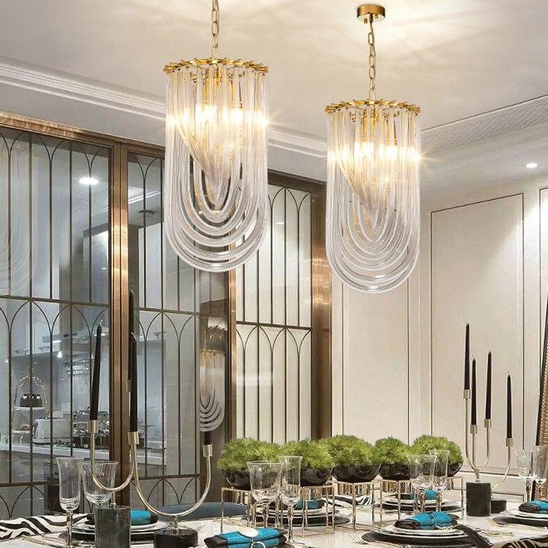 Led Light Modern Pendant Lights Gold Crystal Glass Hanging Lamps Club Study Restaurant Lanterna Home Indoor Living Room Lighting