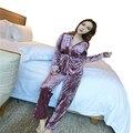 Elegante Pijama Mulheres Sleepwear Primavera Outono Inverno Quente Sexy Coral Pijama de veludo Terno Com Almofada No Peito Colete 3 Peças de Pijama conjunto