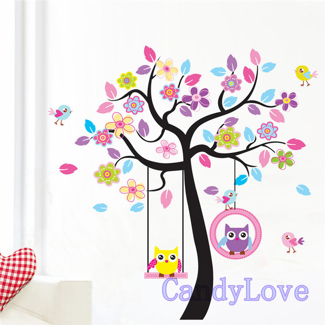 Colores de dibujos animados búho pegatinas de pared árbol columpio ...