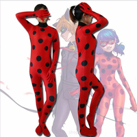 Womens Zip Lycra Miraculous Ladybug Cosplay Costume Spot Skin Tight Suit Ladybug Marinette Spandex Zentai Suit