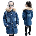 2016 Brand Casual Jacket For Girls Autumn Winter Kids Long Warm Coat Girl Denim Jackets Children Clothing Outerwear 5-14Y C74