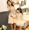 Vestidos de verano 2016 ropa de la madre y la hija de madre e hija vestido de partido del cordón ropa madre e hija familia correspondiente