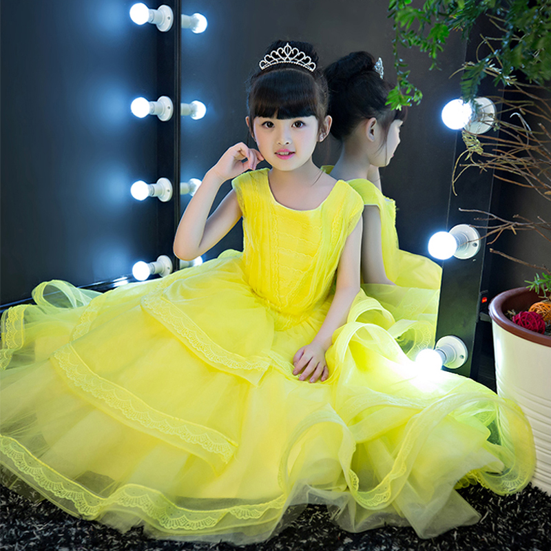 Kids Girls Christmas Costumes Long Dresses Beauty and The Best Cosplay Clothing Children Birthday Wedding Party Princess dresses platinum omicron