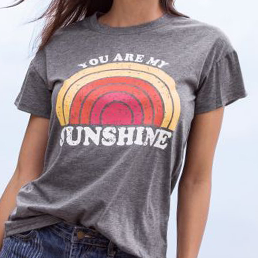 Women T Shirt Summer Short Sleeve tops tee You Are My Sunshine Rainbow Print O Neck
