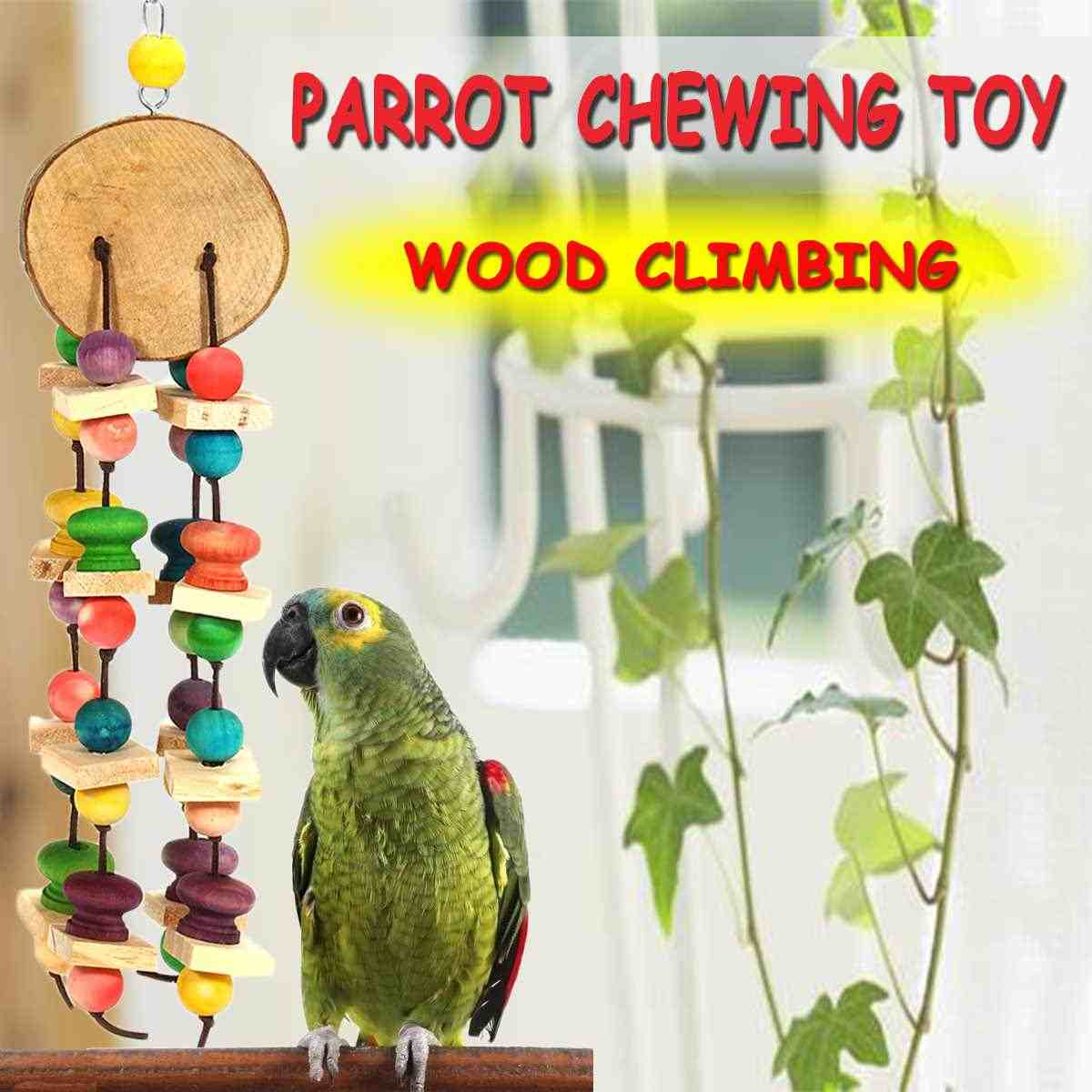 Pet Bird Cages Chewing Playing Toys Hanging Parrot Cockatiel Parakeet Colorful Swing Wooden Blocks Pet Bird Bites Toy