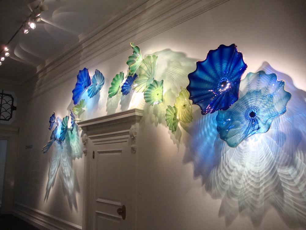Sea Style Crystal Blue Color Spa Wall Decor Art Blown Glass Wall Plates
