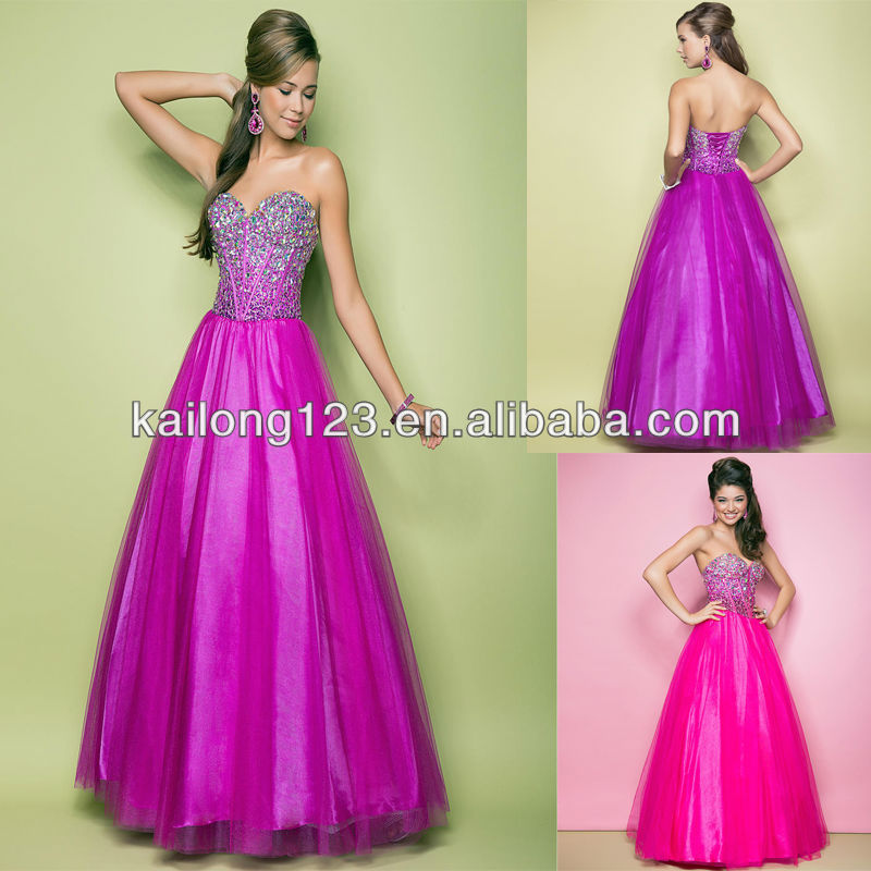 Powerful Sweetheart Full Ball Gown Skirt Magenta Hot Pink Jeweled