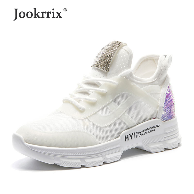 Jookrrix 2019 Women Fashion Rhinestone Increased 4 cm Platform ShoesFor Women Brand Glitter Chunk Sneakers Lady