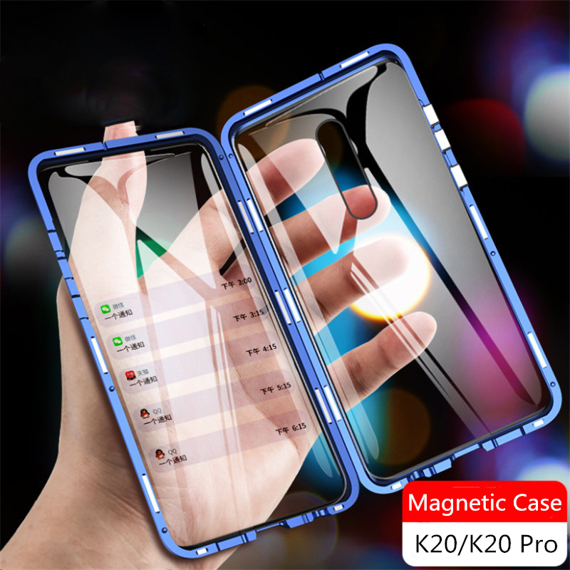 360 Full Magnetic Metal Case For Redmi K20 Pro Note 7 Cover On Xiaomi Mi 9 SE CC9 6X A2 A3 Lite Double Sided Tempered Glass Case