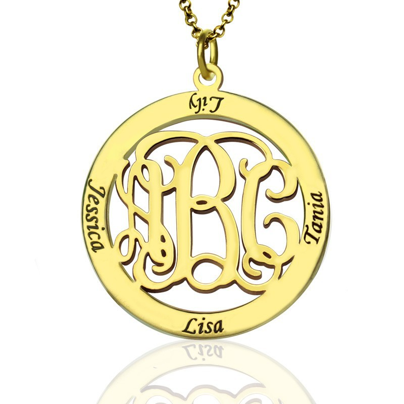 Wholesale Circle Monogram Necklace 925 Solid Silver Hand Stamp 4 Name Personalized Engraved Jewelry BFF Gift Family Pendent bbloop by hand self inking stamp rectangular laser engraved red
