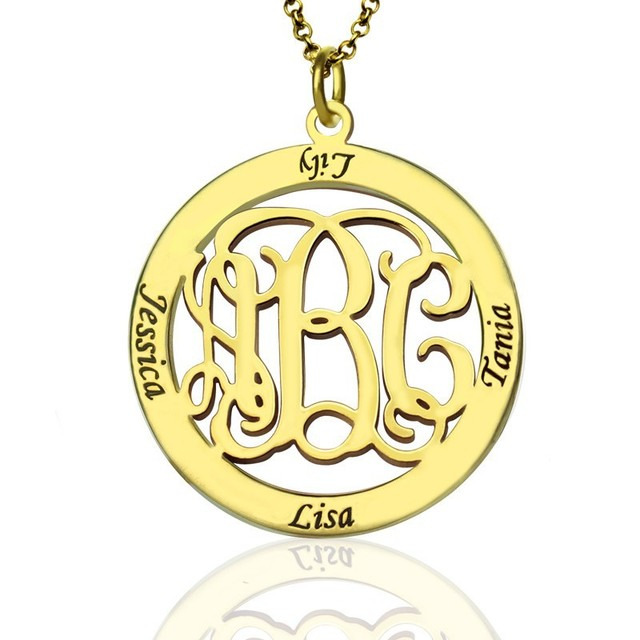 06ef1982d91f63 Wholesale Circle Monogram Necklace 925 Solid Silver Hand Stamp 4 Name Personalized  Engraved Jewelry BFF Gift Family Pendent