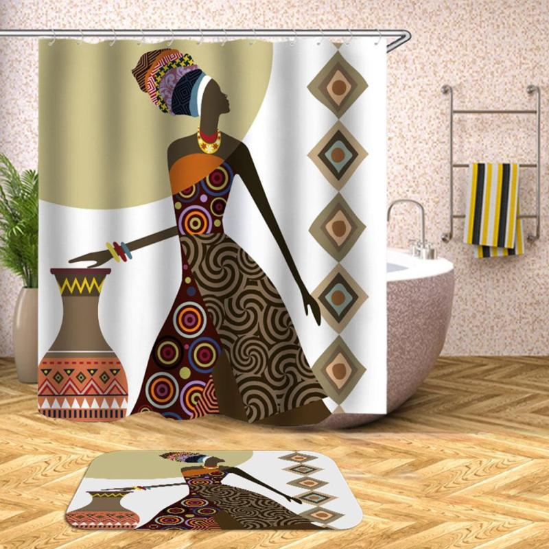 Bathroom Waterproof Shower Curtains Africa Style With Plastic Hooks Polyester Fabric Home Bathroom Decor #AE
