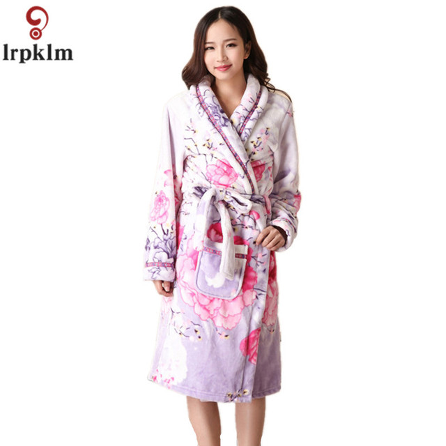 Womens Cotton Bathrobe Long Coral Fleece Floral Nightgowns Sleep Lounge  Dress Gowns For Women Sleepwear Female Bath Robe SY600 8babc2344
