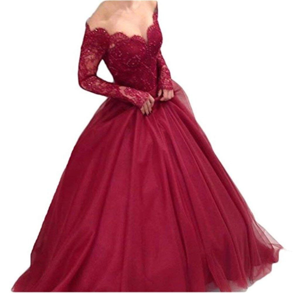Women S Off Shoulder Lace Prom Dress Long Sleeves Ball Gown For Bride Formal Dress Women Elegant Vestidos De Festa Robe Soiree Buy At The Price Of 117 80 In Aliexpress Com Imall Com