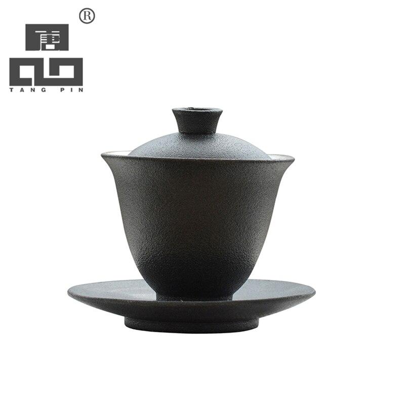 Ev ve Bahçe'ten Çay Takımı Setleri'de TANGPIN seramik gaiwan çay fincanı demlik porselen chawan çin kung fu çay seti 140 ml title=