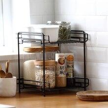 купить Nordic Iron Art Double Layer Household Storage Rack Support Office Home Organizer Stand Holder Rack Kitchen Supplies- Black по цене 2046.42 рублей