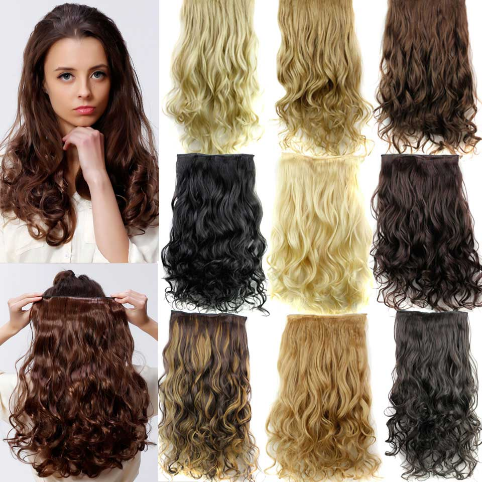 5 Clip In Hair Extensions 23 120g Long Curly Cheap Synthetic Piece Multicolor Available